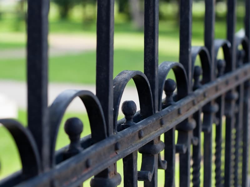 Detail Of A Decorative Black Iron Fence
