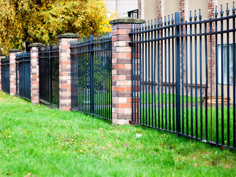 Simple Black Aluminum Fence In Green Grass