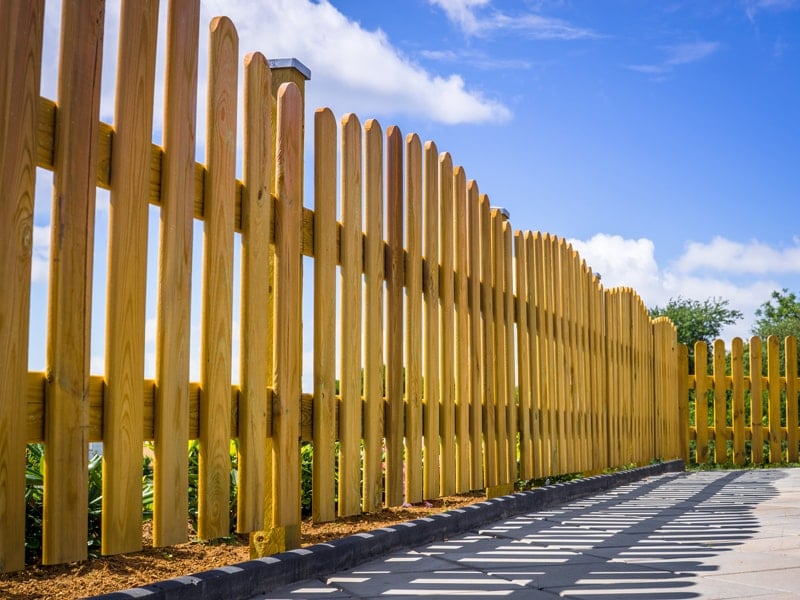 Arched Yellow Pine Wood Angled Picket Fence