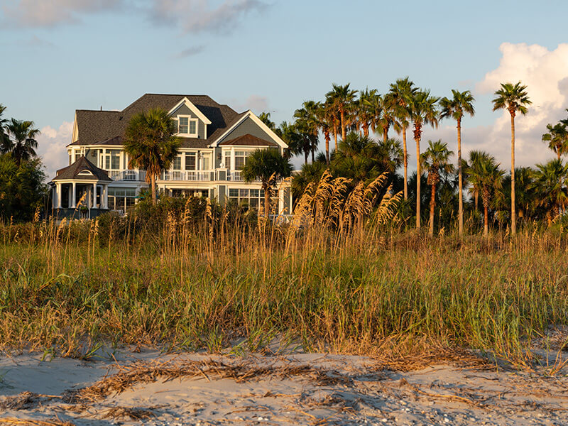 Beautiful Mansion with Picketed Fence on Kure Beach